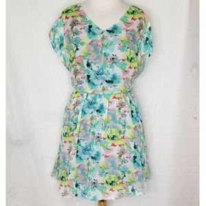 Sz L By & By Blue Floral Dress
